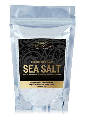 FREZZOR Flaky Sea Salt, 7.4 ounces of Premium Gourmet Sea Salt Flakes from New Zealand, 84 Minerals & Trace Elements, 100% All-Natural, Solar & Wind Harvested Salt, No Microplastics, 1 Pouch