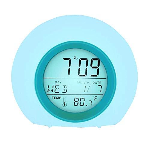 YUES Reloj Despertador Digital para niños con Calendario y termómetro,7 Colores Cambio de luz con Control táctil Junto a la Cama (Azul)