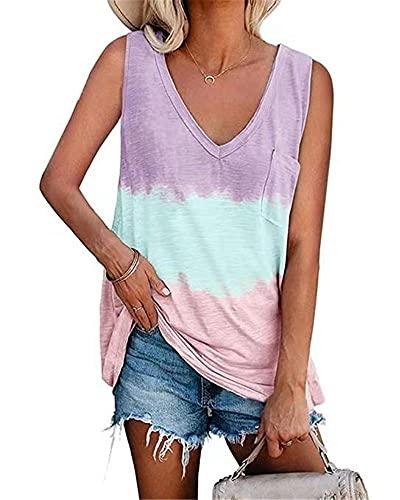 Camisa Mujer Cómodo Escote En V Profundo Sexy Color Degradado Bolsillos Decoración Mujer Camiseta Sin Mangas Casual Clásica Elasticidad Transpirable Mujer Top B-Purple XL