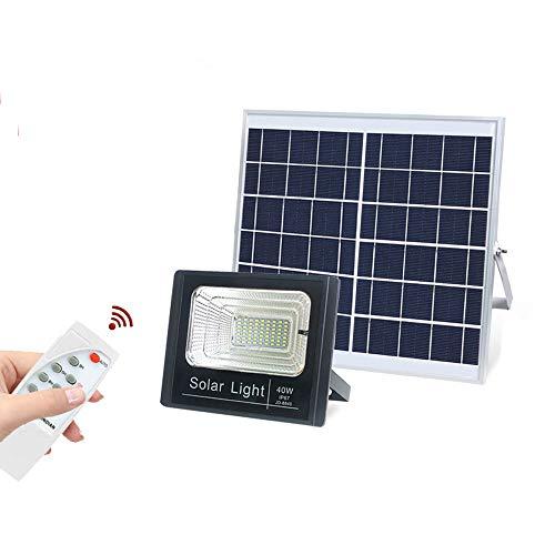LEDソーラー投光器 40Wセンサーライト 光センサー 自動点灯 太陽発電 パネル分離 12800mah大容量バッテリー LEDフラッドライト 63LED 調光可 IP67防水 リモコン付き ソーラーセーフティライト 高輝度 昼白色 長距離照射