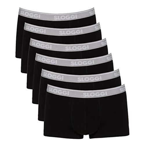 Sloggi Herren GO ABC Hipster Boxershorts, Schwarz (Black 0004), Large (Herstellergröße: L) (6er Pack)