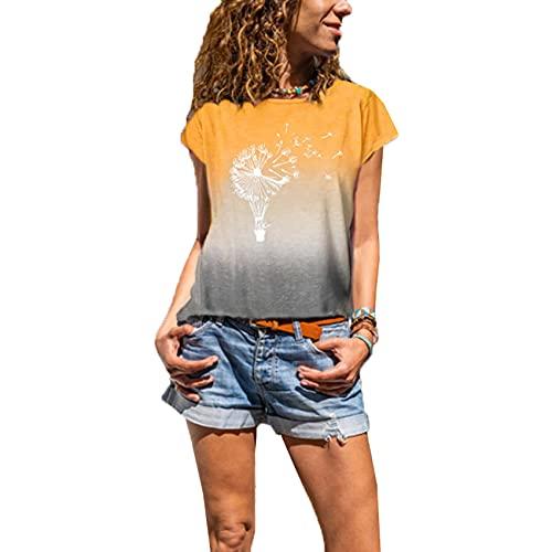 Camiseta de Mujer Hit Color de Manga Corta para Mujer Camiseta Casual con Cuello Redondo Recto