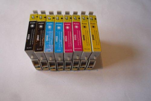8 (2 juegos completos) Cartuchos de tinta compatibles con EPSON conocidos como T0611, T0612, T0613, T0614 para uso en impresoras EPSON STYLUS D68, D88, DX3800, DX3850, DX4200, DX4250, DX4800, DX4850