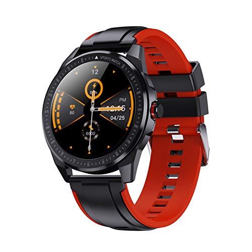 Reloj inteligente IP68 resistente al agua 60 días de tiempo de espera Super Slim Metal Body Reloj inteligente Frecuencia Cardíaca Presión Arterial Música Smartwatch Hombres (Color: Rojo)