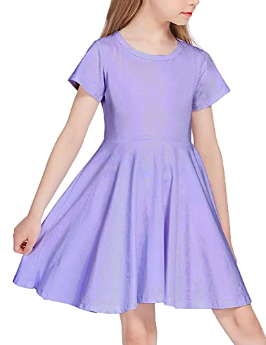 Arshiner Girls Dress Short Sleeve A Line Swing Skater Twirl Summer Dress Lilac