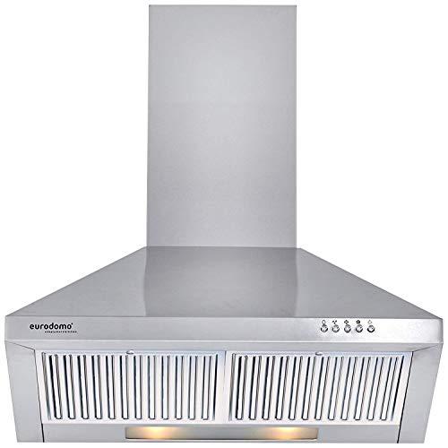 Eurodomo 60 cm 850 m3/h Chimney (Sapphire PB SS 60, Baffle Filter, Stainless Steel)