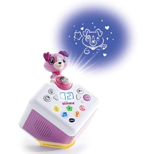 VTech - StoriKid cuentacuentos con proyector, escucha historias, poemas o canciones acompañadas de una proyección, graba tu propia historia, temporizador, luz de noche, color blanco/rosa (80-608067)