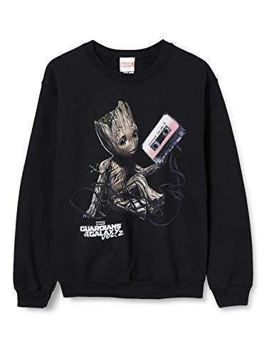Marvel Herren Guardians of The Galaxy Vol2 Groot Tape, Schwarz (Black Blk) S-Sweatshirt, Small