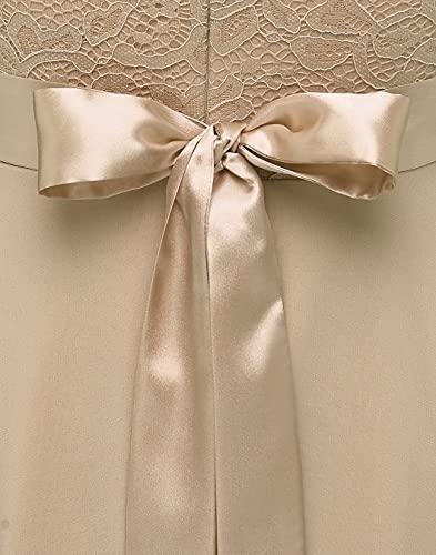 Berylove Mujer Vestido Corto de cóctel Top Falda de Encaje Columpio de Gasa para Boda de Bola BLP7005Champagne M