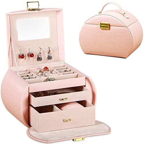 OH Caja de Joyería Organizador Showcase Lock Locker Fashion Exquisite Cuero Joyería Caja Hecho a Mano Cuadro de Joyería Caja de Alenamiento Rack Moda/Rosado