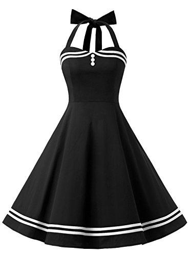 Timormode Vestido Cóctel Corto Vintage 50s Cuello Halter Vestido De Fiesta Rockabilly Mujer Negro S