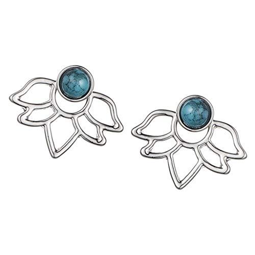sharprepublic Perlen Ohringe Damen Blumen Ohrringe Doppel Stecker Frauen Ohristecker Mode Schmuck Geschenk - Silber