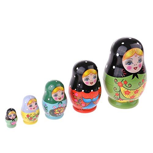 Unbekannt Sharplace 6/5pcs Hölzerne Russische Puppen Matroschka für Kinder Geschenke Spielzeug - Mädchen, 5 Pcs