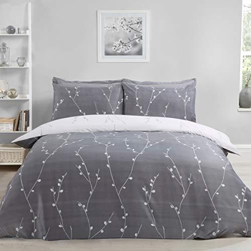 Sleepdown - Set copripiumino double-face, motivo floreale, colore: grigio, ultra morbido, facile da pulire, con stampa anallergica, reversibile, con federe, 200 x 200 cm, in poliestere