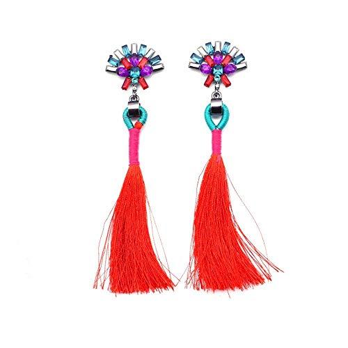 JY Novelty Jewelry-Women Earring Studs Earring Drop Earrings Ear Line,Fashion Ethnic Style Long Tassel Earrings Red, Ladies Birthday Gift Accessories Earring