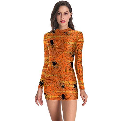 Malbaba Mini Vestido de Halloween con Estampado ajustado de calabaza de Manga Larga para Mujer de Orange