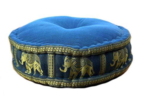 Asia Wohnstudio - Cuscino zafu in seta con imbottitura in Kapok, cuscino da meditazione e da yoga, cuscino da terra, seduta rotonda, hellblau / Elefanten