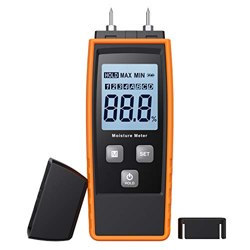 eSynic Wood Moisture Meter Digital Portable Wood Water Humidity Tester LCD Moisture Tester for Detecting Cement Mortar Walls Firewood Paper Humidity Including 3 AAA Battery, 2 Test Probe Pins