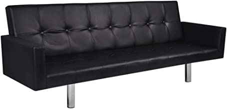vidaXL Sofa Bed with Armrest Black Artificial Leather Living Room Lounge