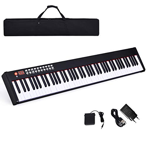 COSTWAY Teclado Piano Digital de 88 Teclas con Bluetooth/128...