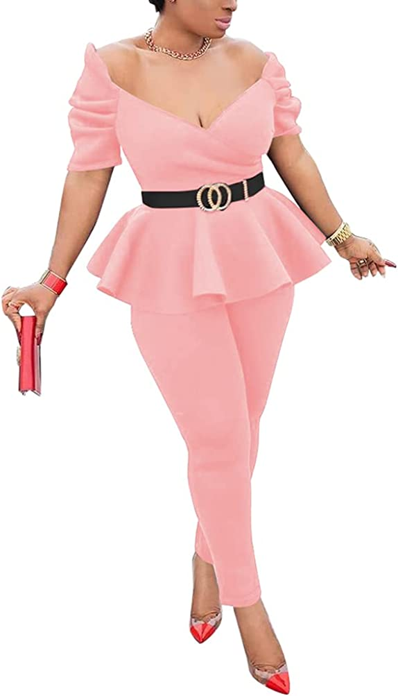 Womens Sexy 2 Piece Business Outfits V Neck Short Sleeve Ruffle Hem Peplum Tops Pants Suit Sets