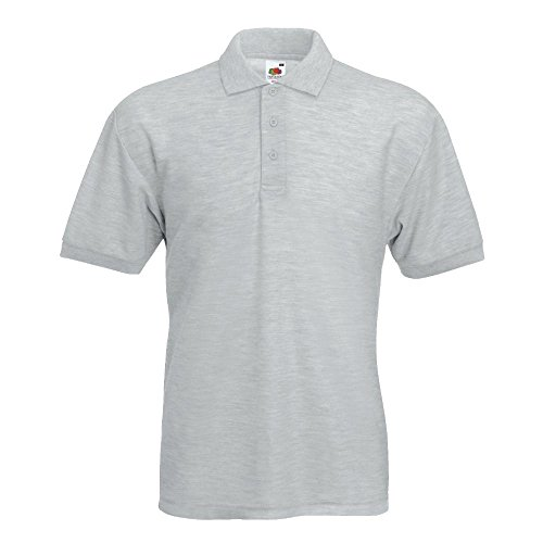 Fruit of the Loom - Piqué Polo Mischgewebe / Heather Grey, L L,Heather Grey