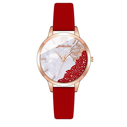 CXJC Reloj Deportivo para Mujeres en 7 Colores. Digital 3ATM Reloj de Cuarzo Impermeable. Cuero + Material de aleación (Color : Si)