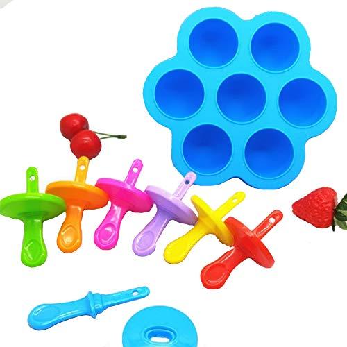 NYKKOLA Siliconen Ei Bites Mallen voor Instant 7 Kleur IJs Mallen Baby Voedsel Vriezer Lade met Deksel Herbruikbare Opslag Container