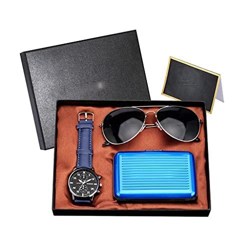 Diaod Conjunto de Reloj para Hombre Reloj de Pulsera de Cuarzo Estuche para Tarjeta de crédito Gafas de Sol Conjunto de Regalo Cumpleaños Acción de Gracias (Color : Blue)