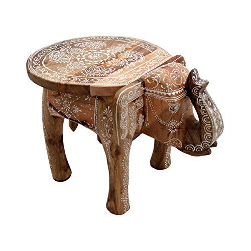 Mesa auxiliar con diseño de elefante, para sofá, mesa decorativa para plantas, madera de mango, pintada a mano, estilo indio, decoración artesanal, mandala