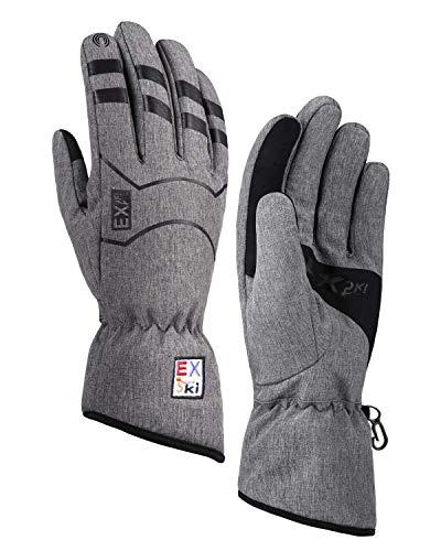 EXski Winter Laufhandschuhe Touchscreen Handschuhe Wasserdicht Warm Winterhandschuhe Herren Damen Joggen Moped Wandern, L