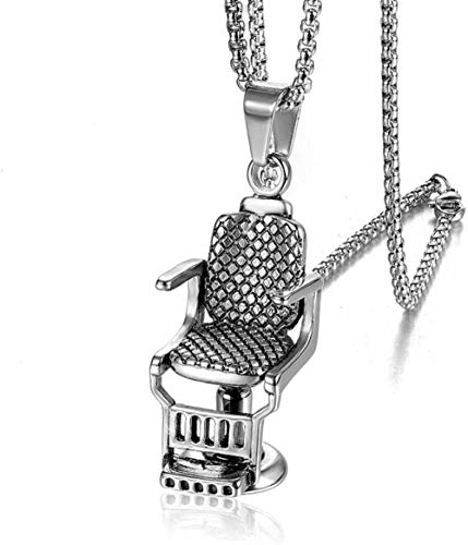 JULYSST Anhänger Halskette Hip Hop Rock Titan Edelstahl Barbershop Sofa Stuhl Anhänger Halskette für Männer Friseur Schmuck Gold Silber-Silber