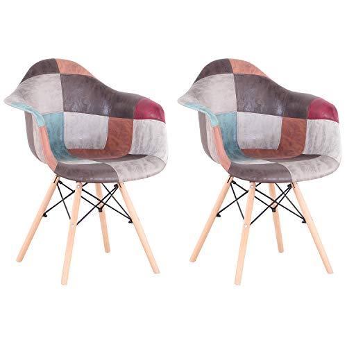 Pack 2 sillas, sillón de Patchwork, Silla de Comedor, Silla de recepción, Silla Estilo nórdico,Adecuado para Sala de Estar, Comedor (Marrón)