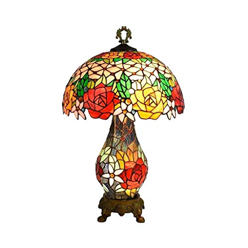 YXX Tiffany Style Night Light Rose Table Lamp 26 Inch Tall 16 Inch Wide,Retro Rural 3-Light Desk Lamp with Stained Glass Lampshade for Living Room Bedroom Office, Home Art Deco
