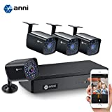 4 Channel H.264+Home Security Cameras System Wired, 4pcs HD 1080N 1.0MP Surveillance Bullet Cameras with CCTV...