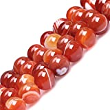 8mm Natural Round Red Banded Carnelian Beads Loose Gemstone Energy Healing Power Stones for Jewelry Making Strand 15 Inch (47-50pcs)