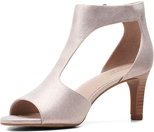 Clarks Women's Alice Flame Heeled Sandal, Lavender Metallic Textile, 9