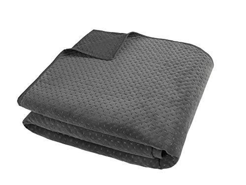 Sleepdown Pinsonic Grey Velour Geometric Luxury Bedspread Throw Over Sofa Bed Super Soft Warm Cosy Large Blanket - 240cm x 260cm