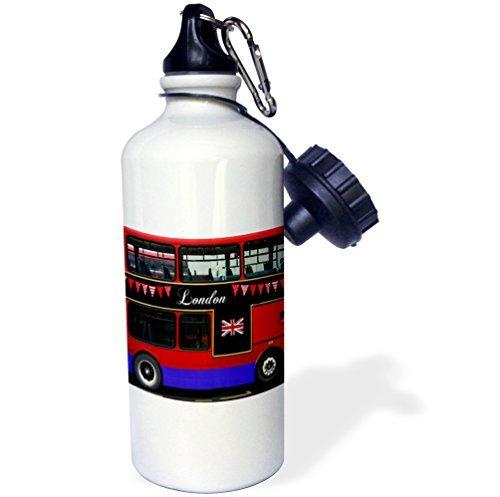 Sport Water Fles Gift, Londen Double Decker Rode Bus Met Bunting En Vlag Uk Groot-Brittannië Verenigd Koninkrijk Reizen Souvenir Wit RVS Waterfles voor Vrouwen Mannen 21oz
