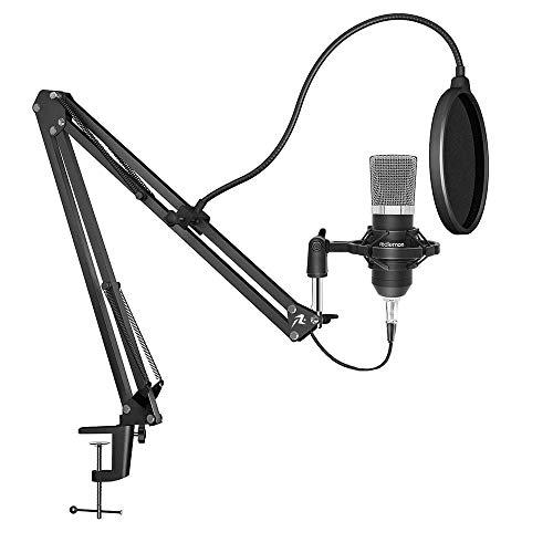Redlemon Micrófono Condensador Profesional para Estudio de Grabación y Radiodifusión, con Brazo Ajustable, Filtro Antipop,...