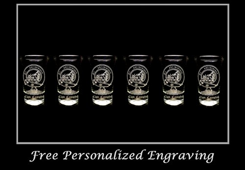 Campbell Scottish Family Clan Crest Shot Glass, Set of 6 - Free Personalized Engraving, Celtic Decor, Scottish Glass
