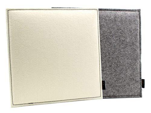 Cojín de Asiento Reversible de Fieltro Cuadrado Luxflair en Color Gris/Blanco Crema. con Relleno, Resistente al Exterior. 35x35cm Grande Adecuado para la Silla Eames