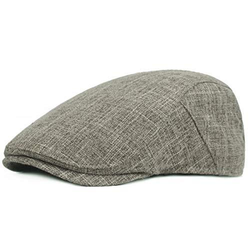 KeepSa Gorra plana de cáñamo puro para hombre Gatsby Ivy Irish Hat Newsboy Boina Caps, #K37-Gris, Talla única