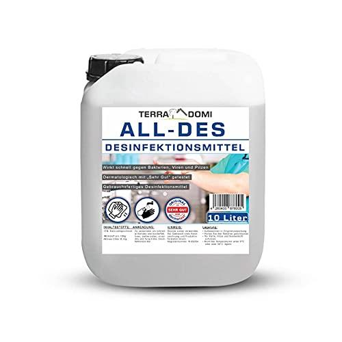 TerraDomi All-Des 10 Liter Desinfektionsmittel ohne Parfüm für Hände und Flächendesinfektion gegen 99,9% aller Viren, Bakterien,Pilze und Sporen, Made in Germany