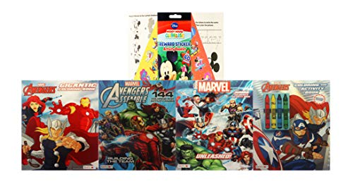 Marvel Avengers Super Coloring Bundle with Crayons & Stickers ( Captain America, Thor, Hulk, Iron Man and a Mickey Mouse Activity Pad