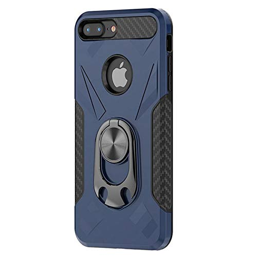 iPhone 8 Pus / 7 Plus Case - Military Grade Drop Shockproof Case with Back Magnetic Iron for Car Mount and Ring Holder kickstand bottle opener- Armor Heavy Duty Phone Cases for iPhone 8+ / 7+ (Blue)