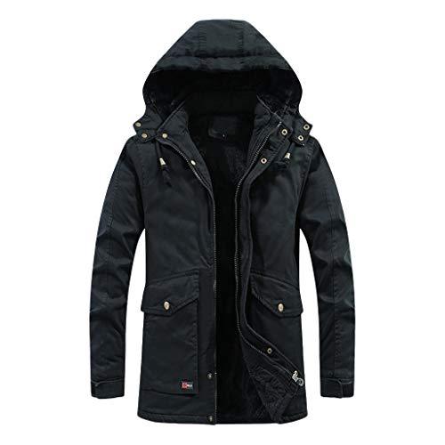 Lenfesh Mens Hiver Capuche Coupe-Vent Couleur Unie à Manches Longues Manteau Doux Shell Vestes Tops