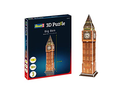 Revell 3D Puzzle- Big Ben, un hito de Londres Descubre el Mundo en 3D, diversión para jóvenes y Mayores, Color Coloreado (120)