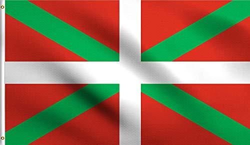 Ericraft Bandera Euskadi Grande 90x150cms Ikurriña Bandera balcón para Exterior Reforzada y con 2 Ojales metálicos, Ikurriña Tela Bandera País Vasco, Bandera Euskal Herria