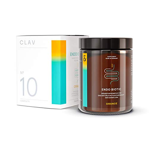 CLAV N°10 ENDO BIOTIC Orange | Probiotics Bio Cultures Complex Drink Powder | 9 Bacterial Multi-Strains + Inulin | Lactose Free + No Sugar + Vegan | 90g Powder Made in Germany